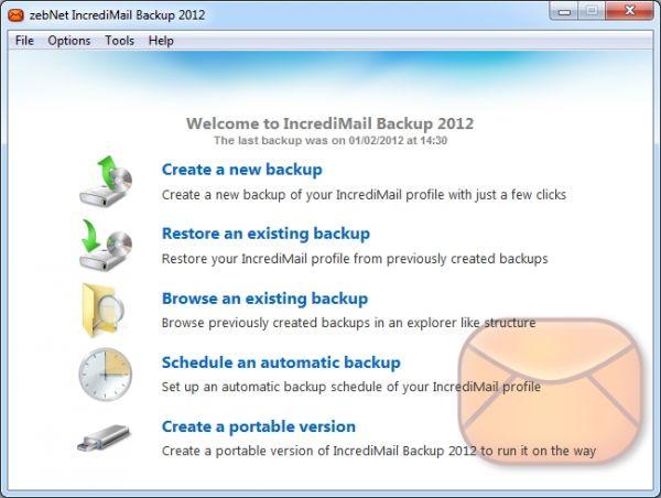 Vorschau zebNet IncrediMail Backup 2012 - Bild 1
