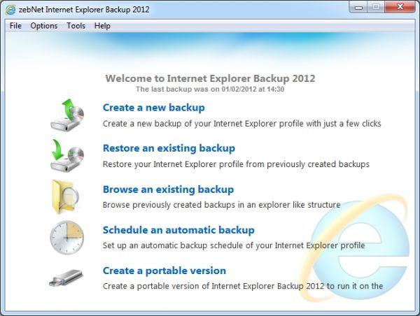 Vorschau zebNet Internet Explorer Backup 2012 - Bild 1