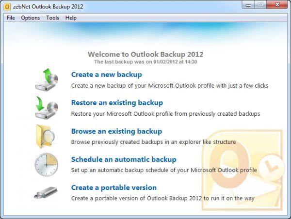 Vorschau zebNet Outlook Backup 2012 - Bild 1