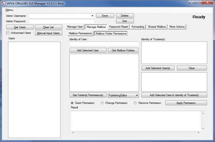 Vorschau APVA Office 365 GUI Manager - Bild 1