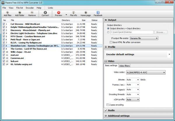 Vorschau Pazera Free AVI to MP4 Converter - Bild 1