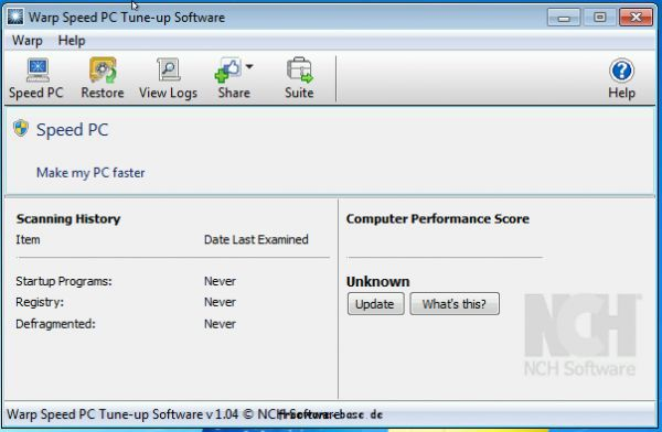 Vorschau Warp Registry Cleaner Software - Bild 1