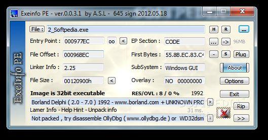 Vorschau ExEinfo PE Win32 bit identifier - Bild 1