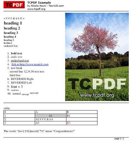 Vorschau TCPDF - PHP class for PDF - Bild 1