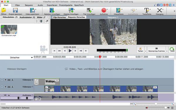 Vorschau VideoPad Video-Editor Mac - Bild 1