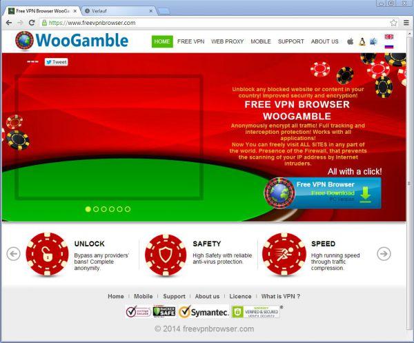 Vorschau WooGamble Free VPN Browser - Bild 1