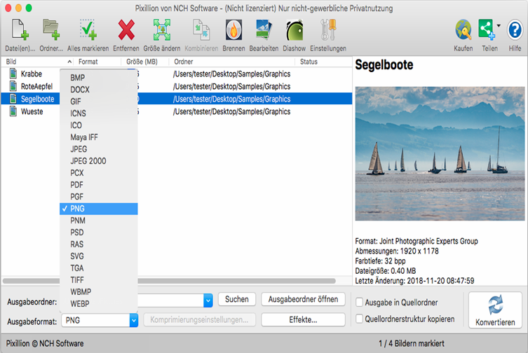 Vorschau Pixillion Bildkonverter Mac - Bild 1