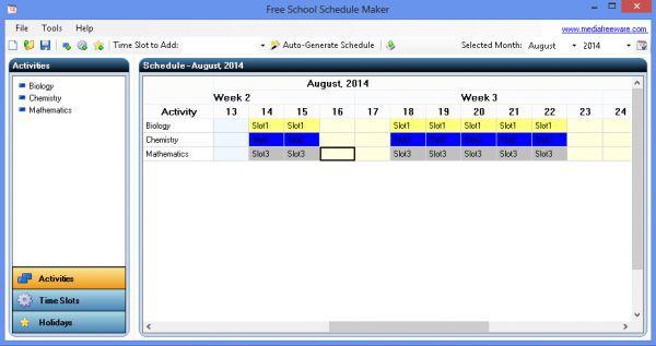 Vorschau Free School Schedule Maker - Bild 1