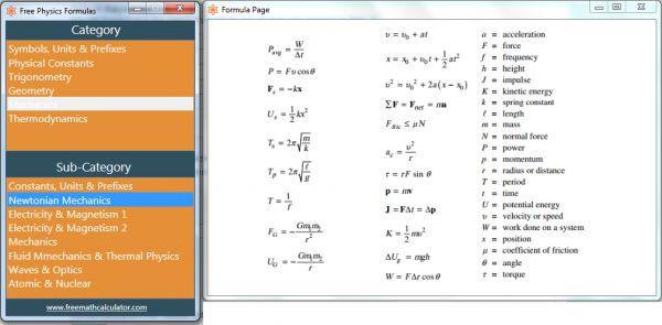 Vorschau Free Physics Formulas - Bild 1