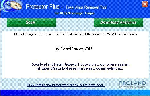 Vorschau W32 Reconyc Free Virus Removal Tool - Bild 1