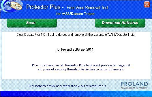 Vorschau W32-Dapato Free Virus Removal Tool - Bild 1