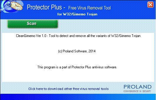 Vorschau W32-Gimemo Free Trojan Removal Tool - Bild 1