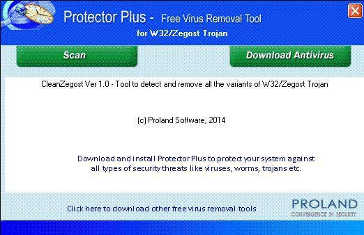 Vorschau W32-CleanZegost  Free Trojan Removal Tool - Bild 1