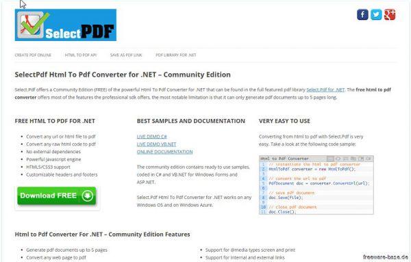 Vorschau SelectPdf Html To Pdf Converter for .NET - Bild 1