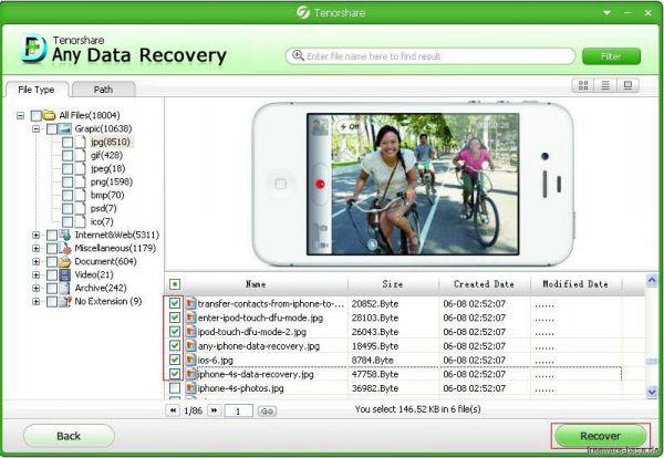 Vorschau Tenorshare Free Any Data Recovery - Bild 1