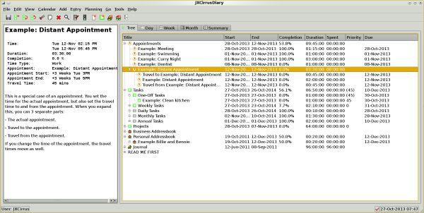 Vorschau JXCirrus Diary for Linux - Bild 1