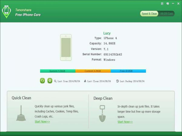 Vorschau Tenorshare Free iPhone Care - Bild 1