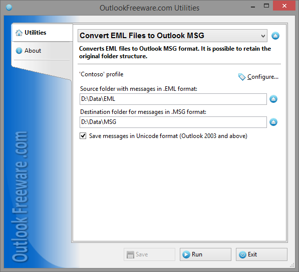 Vorschau Convert EML Files to Outlook MSG - Bild 1