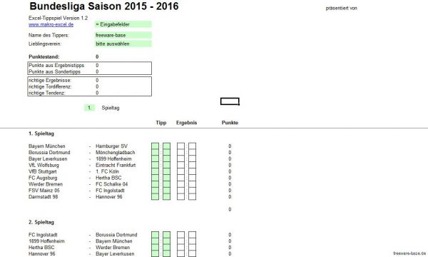 Vorschau Fussball Bundesliga Excel Tippspiel Saison 2015-2016 - Bild 1