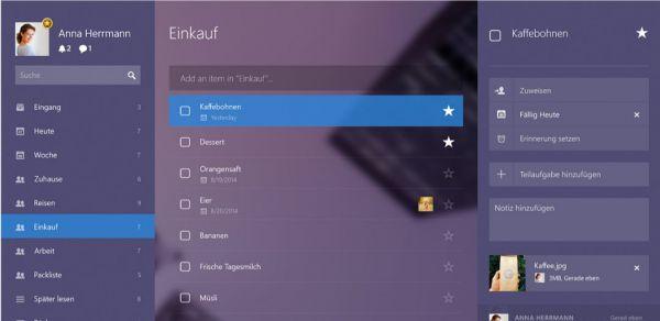 Vorschau Wunderlist fuer Windows - Bild 1