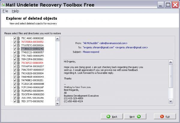 Vorschau Mail Undelete Recovery Toolbox Free - Bild 1