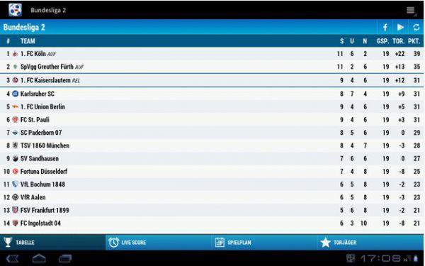 Vorschau Bundesliga 2 für Android - Bild 1