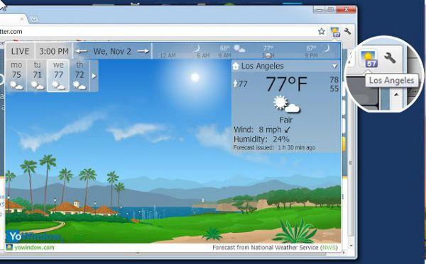 Vorschau YoWindow Wetter für Google Chrome - Bild 1