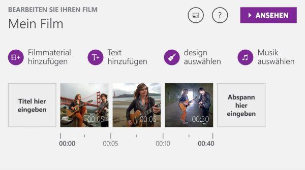 Vorschau Microsoft Movie Creator fuer Windows 8 und 10 - Bild 1