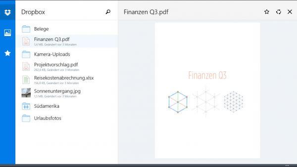 Vorschau Dropbox fuer Windows 8 und 10 App - Bild 1