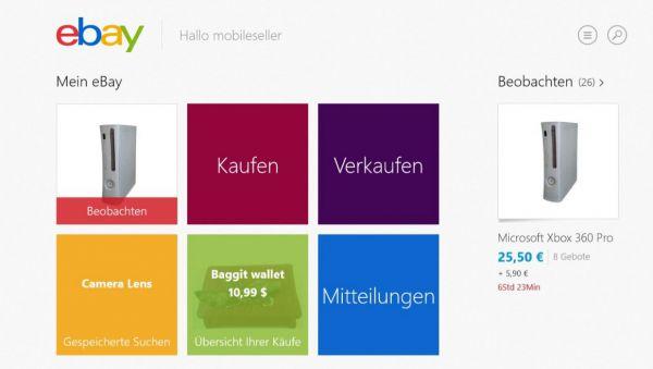 Vorschau eBay fuer Windows 8 und 10 App - Bild 1