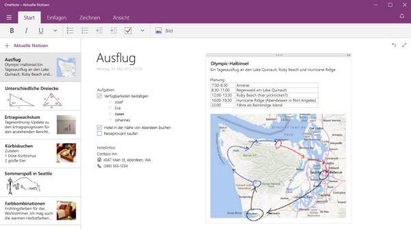 Vorschau OneNote fuer Windows 8 und 10 App - Bild 1