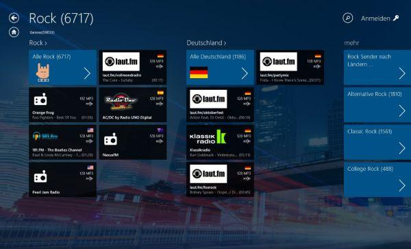 Vorschau Audials Radio fuer Windows 8 und 10 App - Bild 1