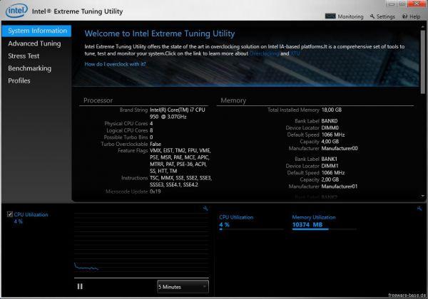 Vorschau Intel Extreme Tuning Utility - Intel XTU - Bild 1