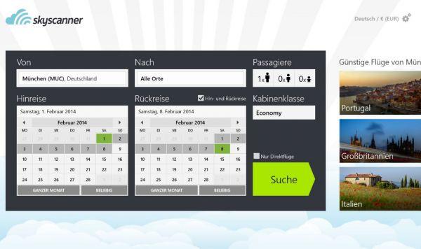 Vorschau Skyscanner für Windows 8 und 10 - Bild 1