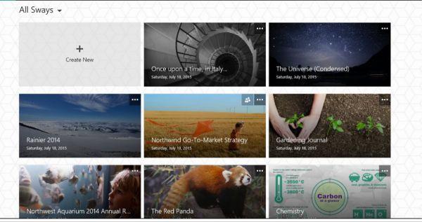 Vorschau Microsoft Office Sway fuer Windows 10 App - Bild 1