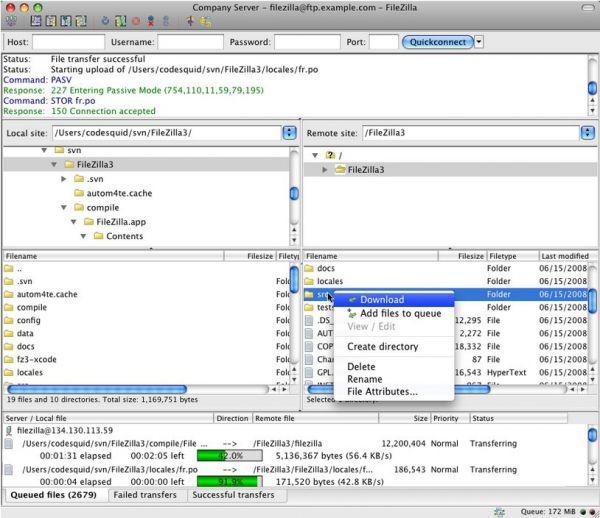 Vorschau FileZilla für Mac - Bild 1
