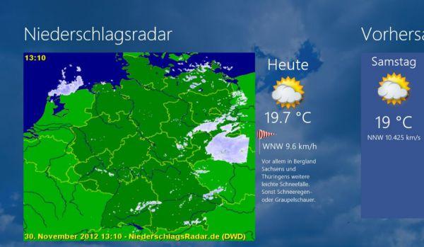 Vorschau Niederschlagsradar fuer Windows 8 und 10 - Bild 1