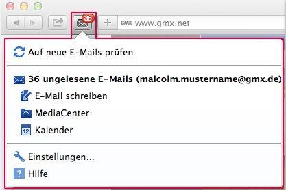 Vorschau GMX MailCheck fuer Safari - Bild 1