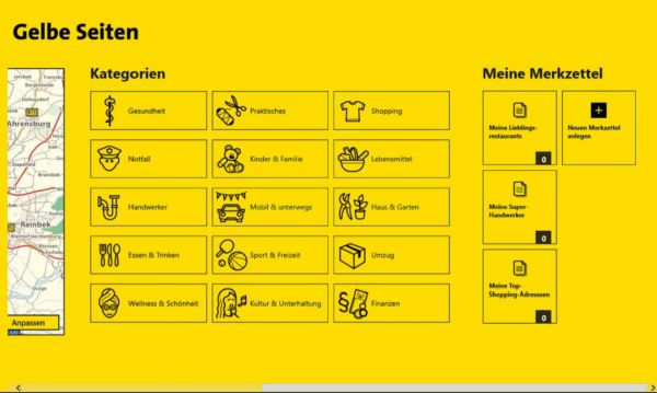 Vorschau Gelbe Seiten fuer Windows 8 und 10 - Bild 1