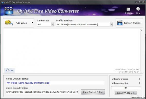 Vorschau ChrisPC Free Video Converter - Bild 1