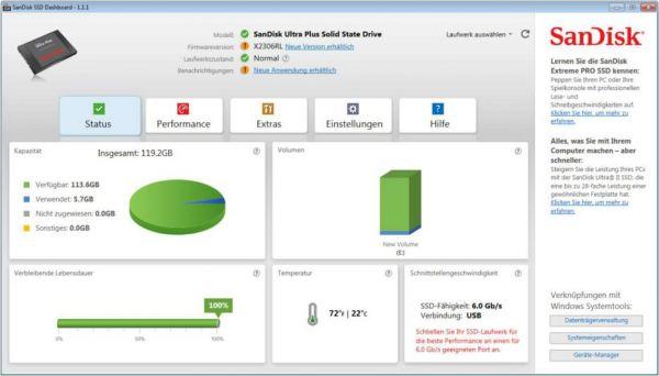 Vorschau SanDisk SSD Dashboard - Bild 1