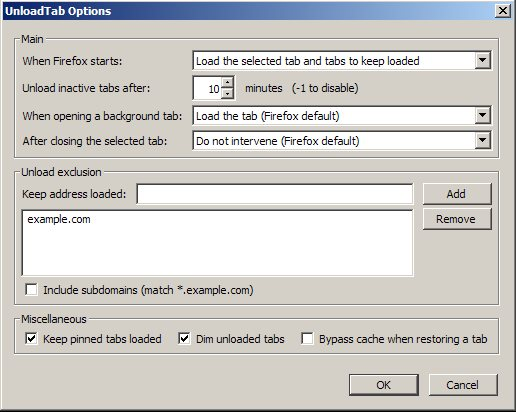 Vorschau UnloadTab für Firefox - Bild 1