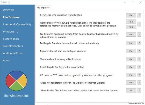 Vorschau FixWin 10 für Windows 10 - Bild 1