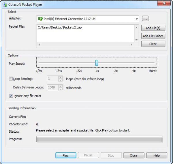 Vorschau Colasoft Packet Player - Bild 1