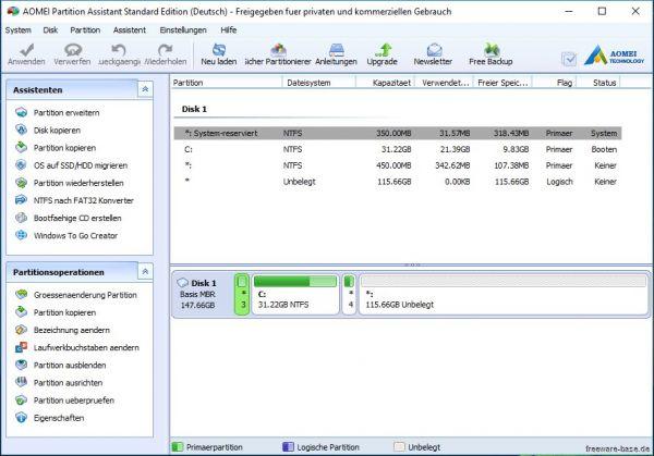 Vorschau AOMEI Partition Assistant Standard Edition - Bild 1
