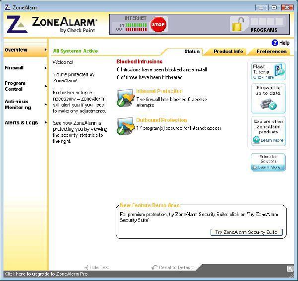 Vorschau ZoneAlarm Free - Bild 1