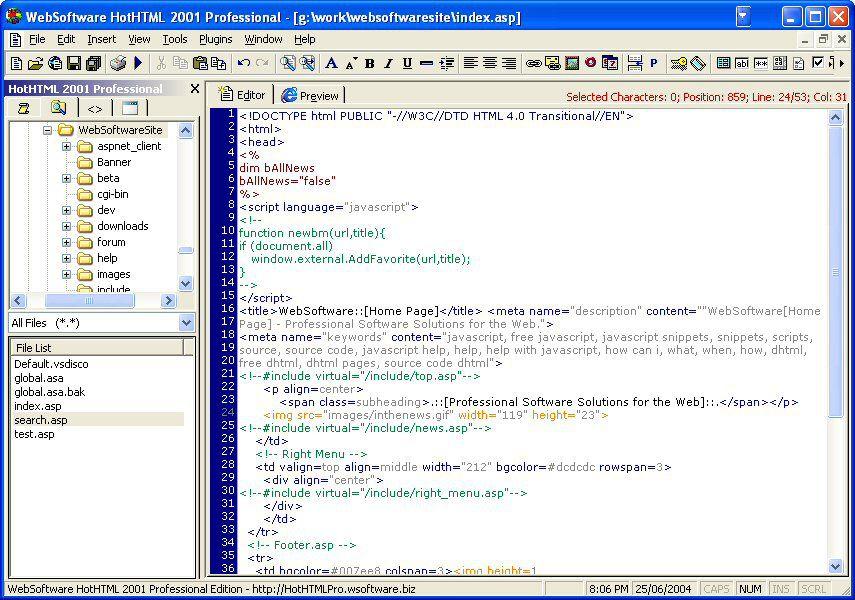 Vorschau HotHTML 2001 Professional - Bild 1