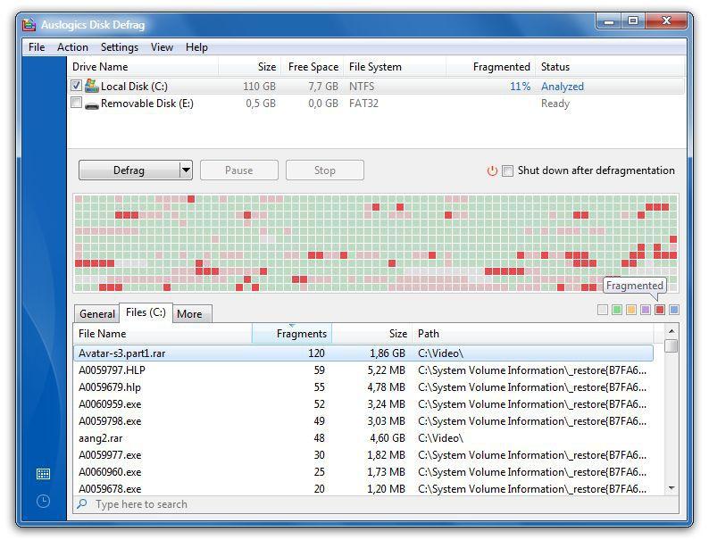 Vorschau Auslogics Disk Defrag und Portable - Bild 2