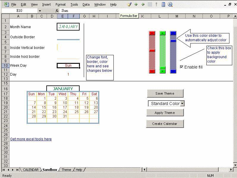 Vorschau Excel Calendar Creator - Bild 2