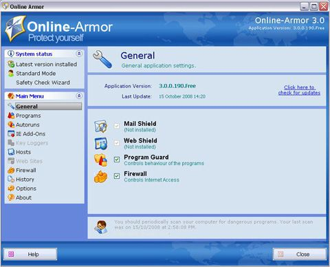 Vorschau Online Armor Free Firewall - Bild 2